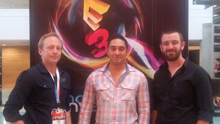 Pinion co-founders (L-R) Daniel Ringland, Karl Flores and David Banham at the E3 gaming expo.