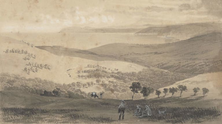 Nicholas Chevalier's 1862 watercolour of Louttit Bay.