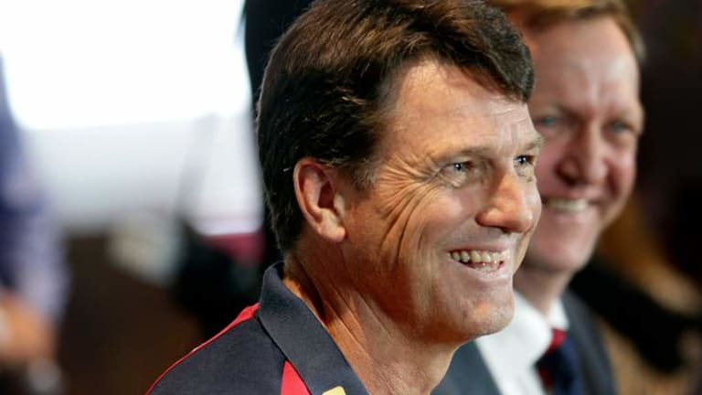 Paul Roos is all smiles as he is introduced as the new coach of Melbourne Football Club.