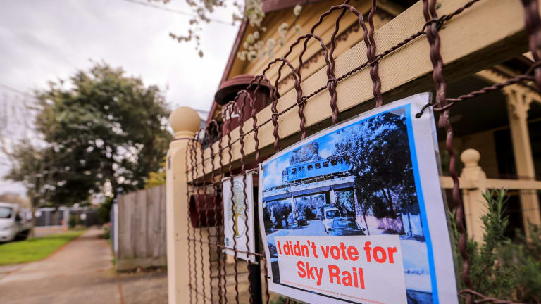 MELBOURNE, AUSTRALIA - SEPTEMBER 01: A general view of 'No Sky Rail' signs on Hewits rd Carnegie, protesting the State Government's plan to build sky rails on the Frankston and Pakenham train lines on September 1, 2016 in Melbourne, Australia. (Photo by Wayne Taylor/Fairfax Media)