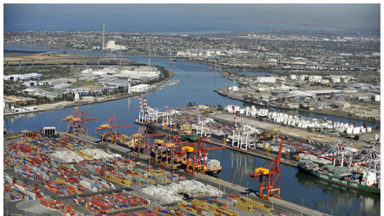 Swanson Dock in the foreground and Webb Dock (background) make up The Port of Melbourne.