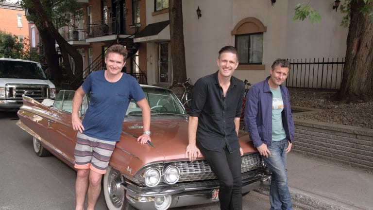 Australian comedians David Hughes (left), Wil Anderson and Adam Hills on the road in Montreal.