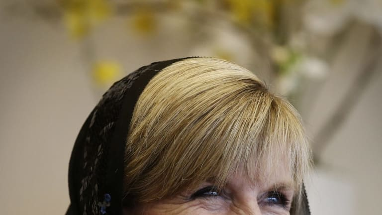 Foreign Minister Julie Bishop during a trip to Tehran, Iran.