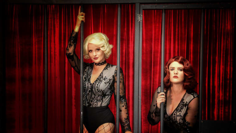 Roxie (Vanessa de Jager), left and Velma (Kelly Roberts) in Chicago.
