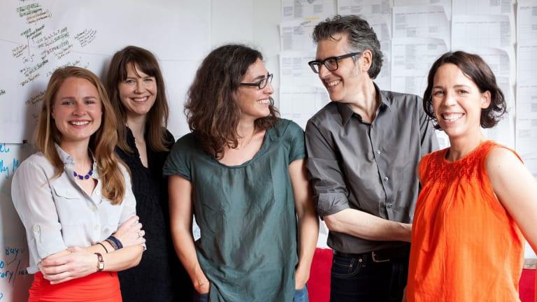 <i>Serial</i> staff, from left: Dana Chivvis, Emily Condon, Sarah Koenig, Ira Glass and Julie Snyder.