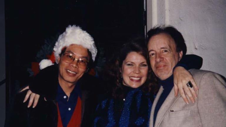 Tough-skinned ... Charles Higham with his late companion, Richard Palafox, and Pamela Mora.