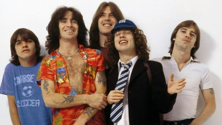 Rocky ride: Malcolm Young, Bon Scott, Cliff Williams, Angus Young and Phil Rudd