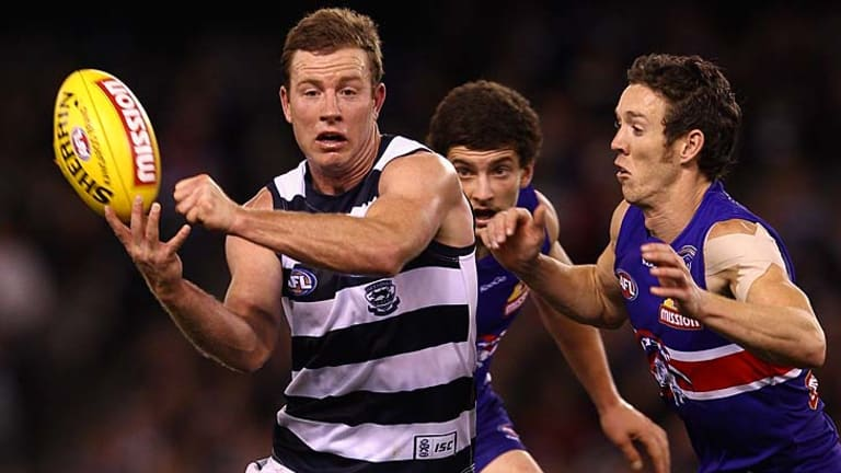 Steve Johnson of the Cats handballs during the round nine AFL match between the Western Bulldogs and the Geelong Cats at Etihad Stadium.