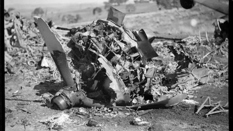 Propeller and engine wreckage at the site of the airplane crash in which 10 people died.