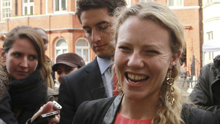 Sarah Harrison, assistant to Julian Assange, thanks supporters outside Ecuador's embassy in London in 2012. She is among the journalists whose details were provided to authorities.