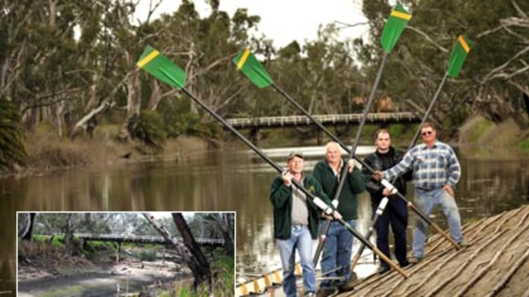 Members of the Dimboola Rowing Club Rod Lehmann, Adrian Werner, Jarrod Bolwell and Keith Moller beside the Wimmera River yesterday. Inset: the riverbed last Friday.