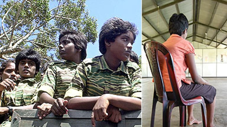 No place for a child ... (left) Young fighters of the Liberation Tigers of Tamil Eelam in Sri Lanka, and (right) a 14-year old conscript at the Kegalle district centre.