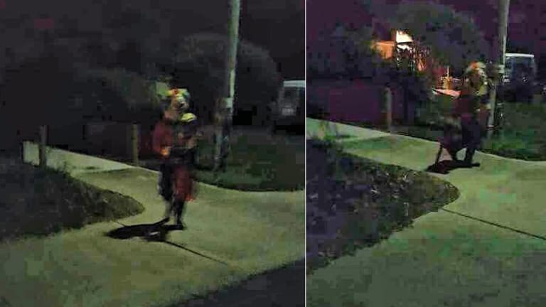 Photos have emerged of a clown seemingly brandishing a chainsaw in Rockingham, Perth.