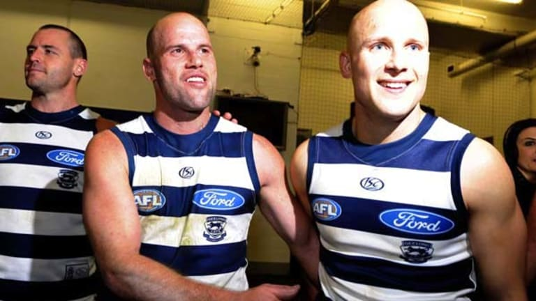 The Cats were all smiles after their emphatic 69-point win over Fremantle, with Josh Hunt (left), Paul Chapman (middle) and Gary Ablett appearing at ease in the MCG dressing rooms following Friday night's game.