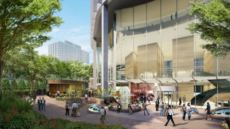 An artist impression of the building which will house offices for public servants and senior ministers.