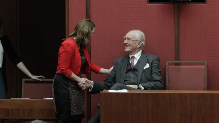 Greens Senator Sarah Hanson-Young greets former Prime Minister Malcolm Fraser in the Senate today.