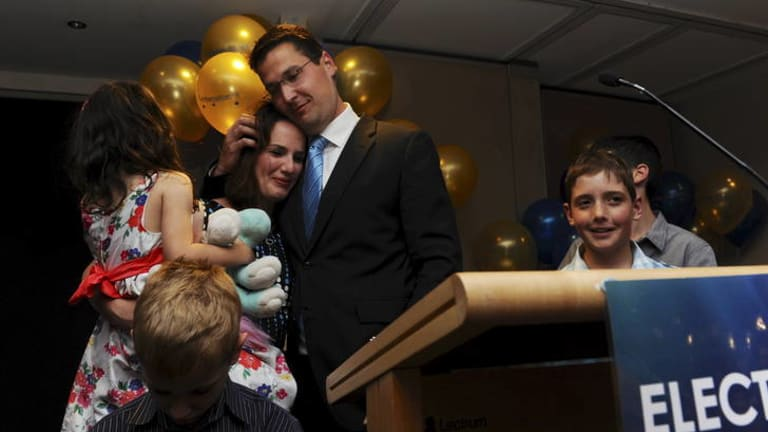 Liberal leader Zed Seselja with wife Ros and his children.