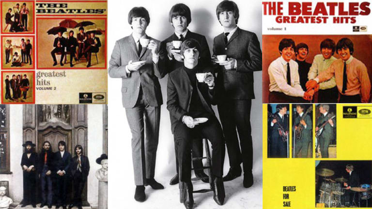 <i>Hey Jude</i> sleeve, bottom left, is simple but attractive, whereas <i>Beatles for Sale</i>, bottom right, is uniquely - and distinctly -  Australian.
