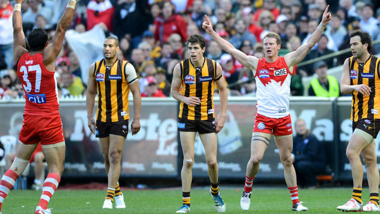 Flying high: Swan Mitch Morton celebrates a second quarter goal.