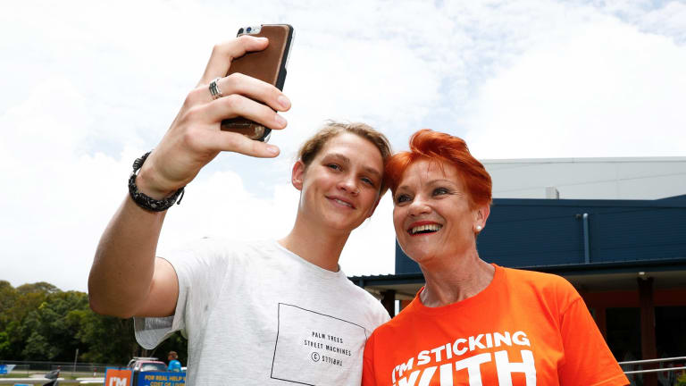 One Nation leader Pauline Hanson on the campaign trail.