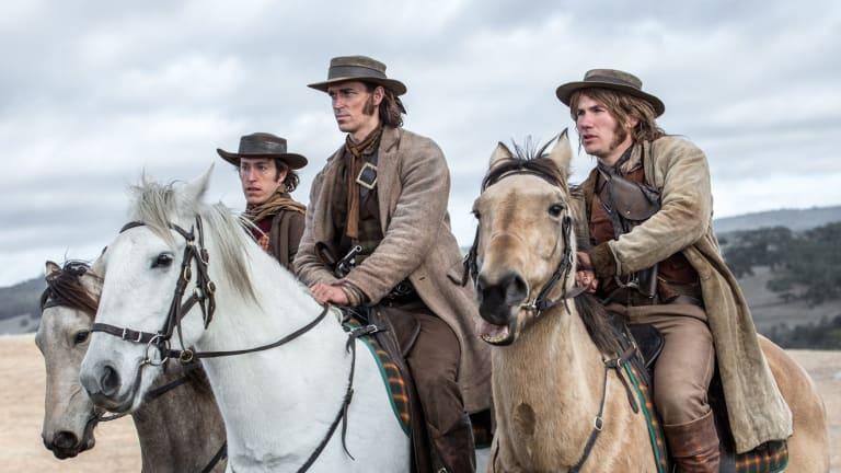 Bushrangers John Dunn (William Lee), Ben Hall (Jack Martin) and John Gilbert (Jamie Coffa) in <i>The Legend of Ben Hall</i>.