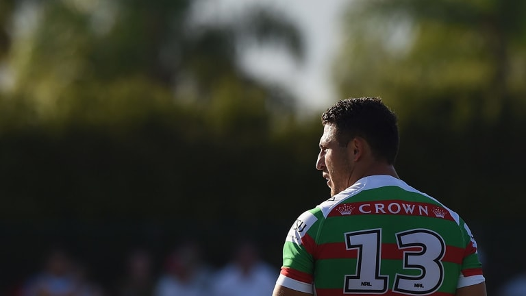 He's back: Sam Burgess made a return for the Rabbitohs in a trial match win over the Titans.
