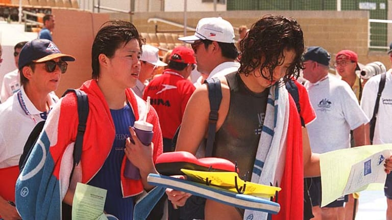 1998 world swimming championships in Perth ... Chinese swimmers Wang Luna and Zhang Yi failed drug tests.