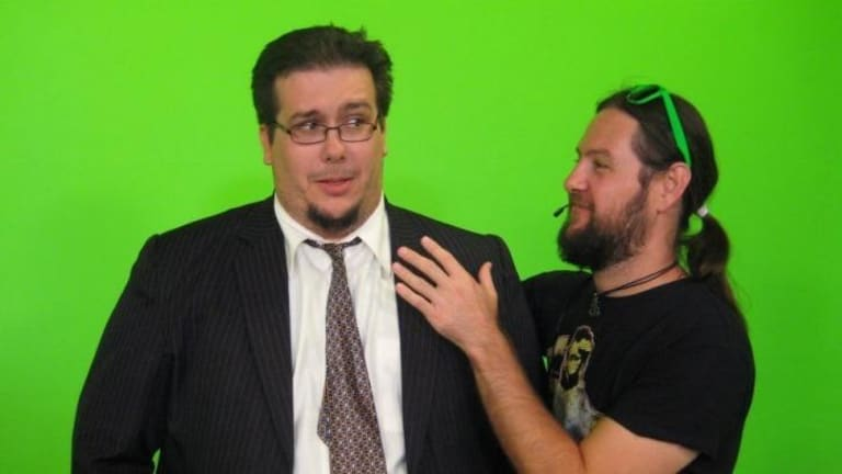 Briz 31 general manager Scott Black with stage manager Kris Anderson on the set of The Late Nite Show.