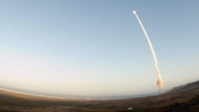 An unarmed intercontinental ballistic missile being launched by the US.