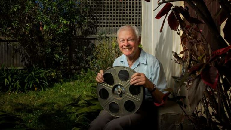 Film collector Malcolm Smith in front of the garden shed at his home in Manly where he found the Three Stooges film <i>Hello Pop</i>, long thought lost.