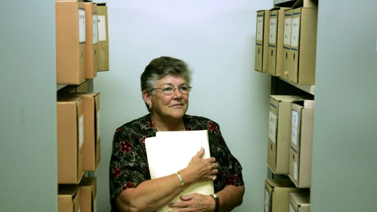 Judith Cornell in the archives at the College of Nursing in Burwood.