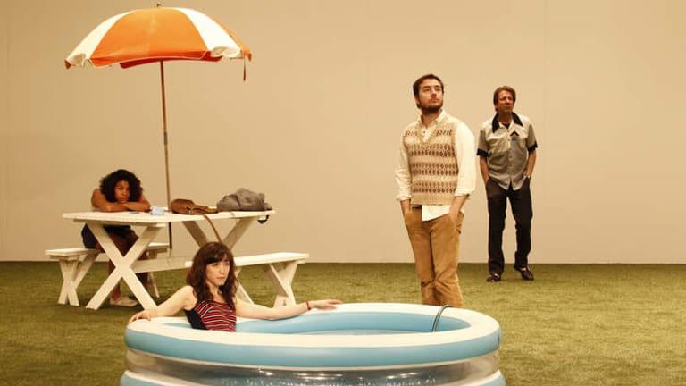 Zahra Newman (Varya), Eloise Mignon (Anya), Toby Truslove (Trofimov), Robert (Gayev) in <i>The Cherry Orchard</i>.