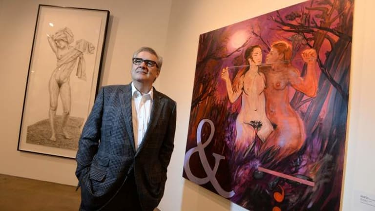 Benalla Nude Art prize winner Juan Davila with <i>After Image, &</i>.