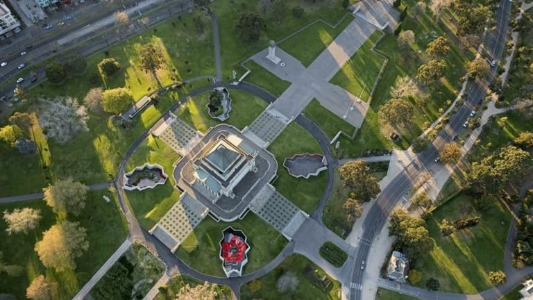 Southern Acropolis: Aerial view of Melbourne's Shrine of Remembrance redevelopment, by ARM Architecture.