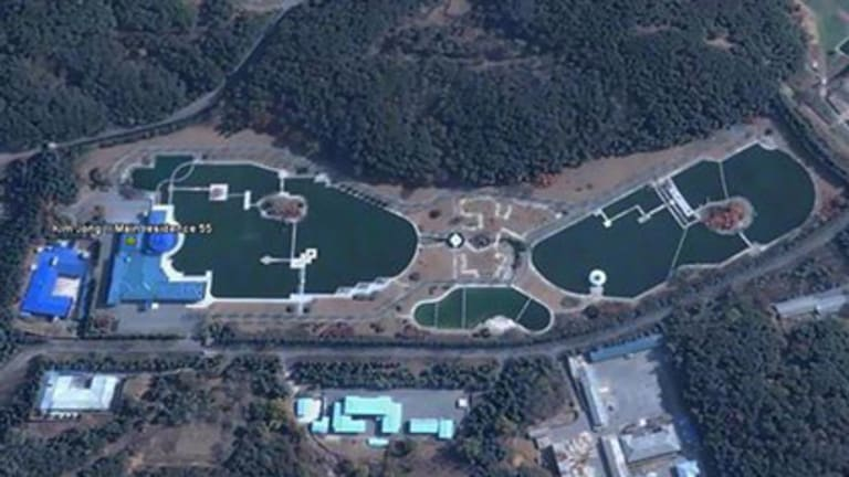 Living large ... one of North Korean dictator Kim Jong Il's palatial mansions with expansive gardens.