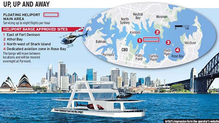 Water wing ... an artist's impression of the barge, and its approved sites.
