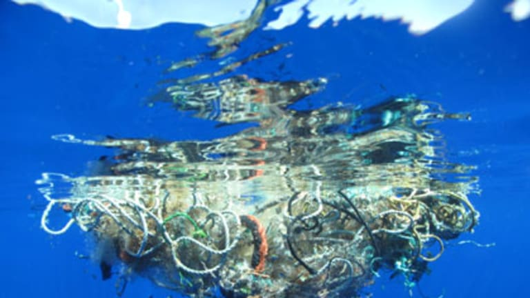 Cruel trap ... many sea creatures could become fatally entangled in this 90-kilo cluster of fishing net, plastic and other debris.