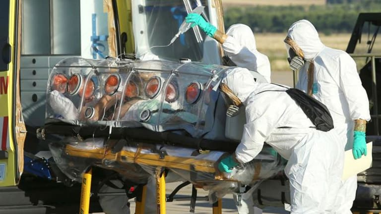 Roman Catholic priest Miguel Pajares, who contracted the deadly Ebola virus, being transported from Madrid's Torrejon air base to the Carlos III hospital upon his arrival in Spain.