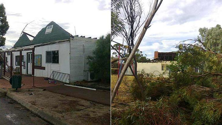 These photos, taken by Kevin Lockyer and provided by perthweatherlive.com show the damage wrought by Tuesday's storm in Karlgarin.