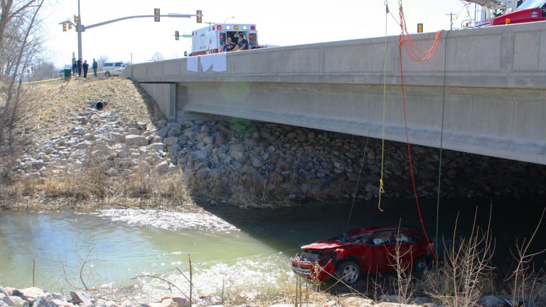 Tragedy ... When emergency services arrived at the scene of the crash, the vehicle of Lynn Jennifer Groesbeck was upside down and partially submerged in the Spanish Fork River, Utah.