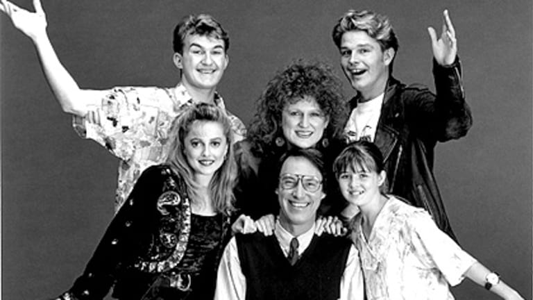 The cast of <i>Hey Dad!</i> with Robert Hughes (c) and Sarah Monahan (r).