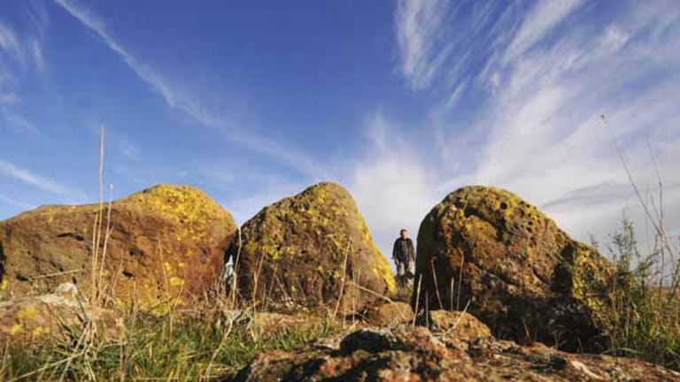 Victoria's Stonehenge? Reg Abrahams at the stone arrangement outside Geelong.