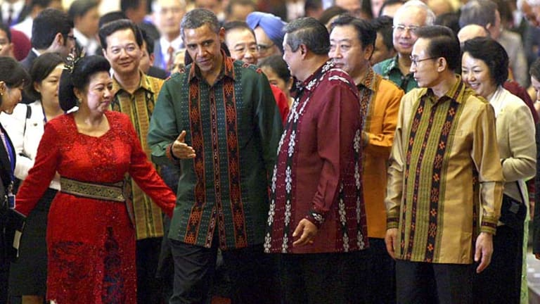 US President Barack Obama with Indonesian President Susilo Bambang Yudhoyono, right, and his wife Kristiani, in Indonesia, in 2011.
