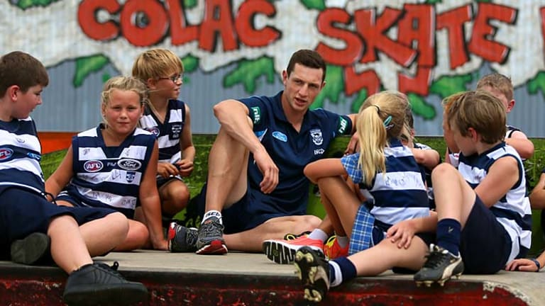 At home: Darcy Lang meets young fans at Geelong's Colac clinic.