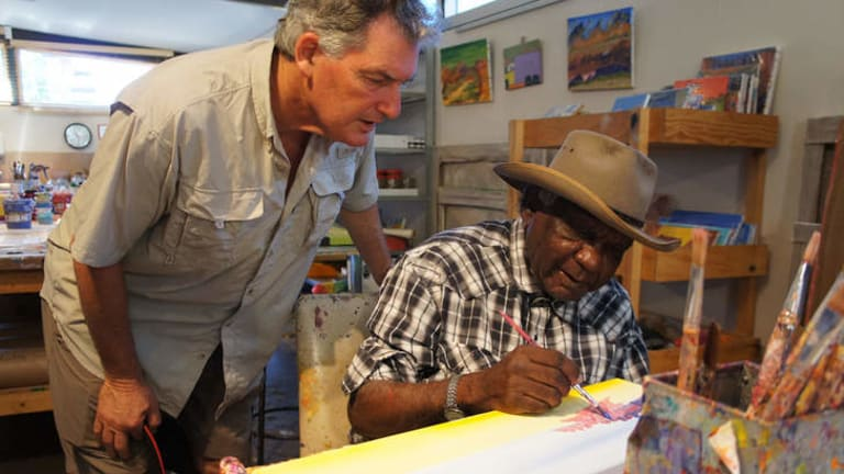 Deconstructing myth: Adrian Newstead and Billy Benn at Bindi Art Centre in 2010.