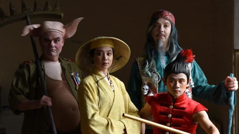 "Cast: Bell Shakespeare Company's new musical of the ancient Chinese story of ""Monkey"". Pictured are (L-R) Darren Gilshenan, Aileen Huynh, Justin Smith and Aljin Abella.   Photo: Steven Siewert"