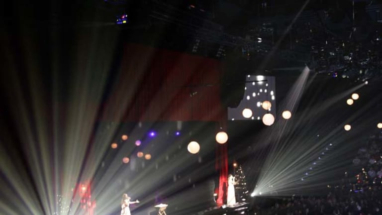 Spectacular … the Hillsong Christmas offering hits several cultural touchstones: Ebenezer Scrooge, Santa Claus and a koala.
