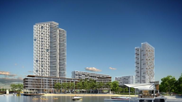 An inner-city beach is part of the new Riverside development.