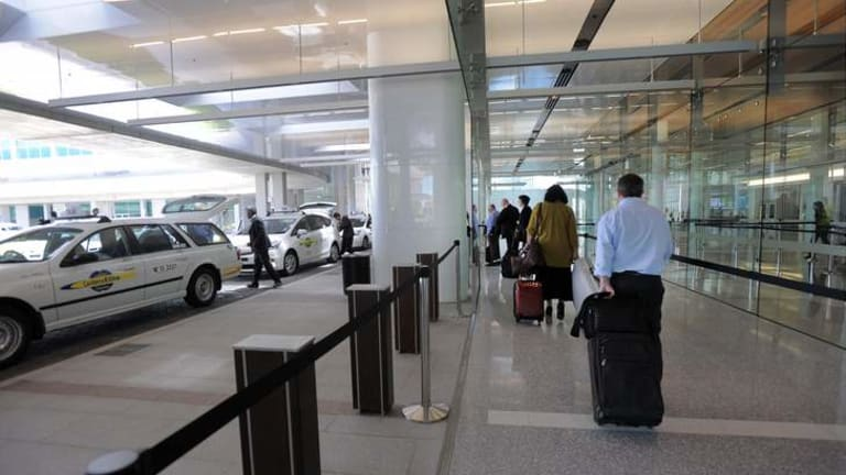 A new undercover taxi rank unveilled at the Canberra Airport.