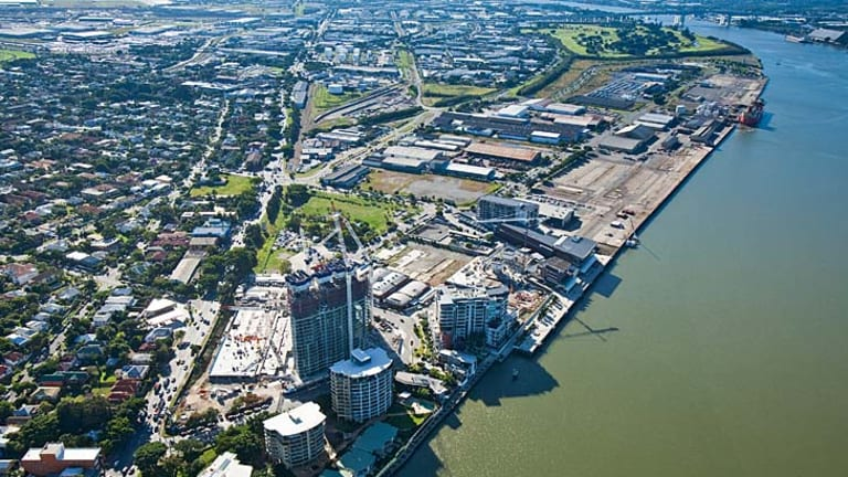 An aerial view of development activity along the riverfront at Hamilton.